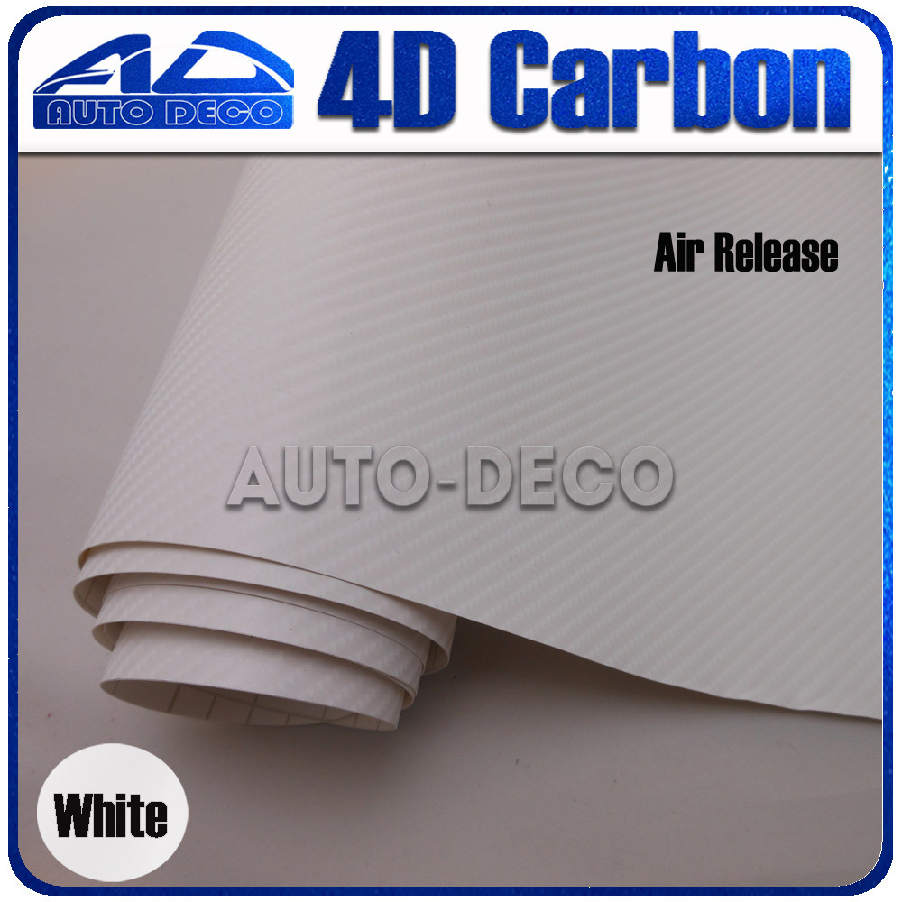Wholesale 4d Carbon Fiber Vinyl White Carbon Sticker Film For Car Wrapping With Bubble Free FedEx Free Shipping 30m/roll limited sales 3mx50cm 118 x20 4d carbon fiber vinyl film sticker wrapping decal bubble free black for car truck suv body