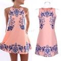 FANALA Women Summer Dress Elegant Vintage Sleeveless Retro Ceramic Print Dresses O Neck Casual Dress Vestidos Plus Size S~XXL