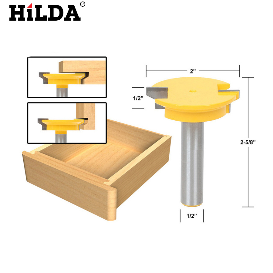 HILDA 1PC 1/2'' Shank Straight Rail & Stile Router Bit Woodworking Chisel Cutter Tools fresas para router woodworking tools metric flute straight bit 1 2 18mm 1 2 shank arden a0114468