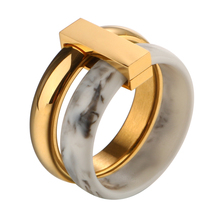 Fashion Two Layer Move Ceramic Ring Stainless Steel Rings for Women Silver Color Wedding Rings for Gift Lover's Rings Jewelry