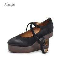 Artdiya Original Retro Shallow Mouth Wedge Heels Shoes Strap Platform High Heels Genuine Leather Handmade Women's Shoes 13660
