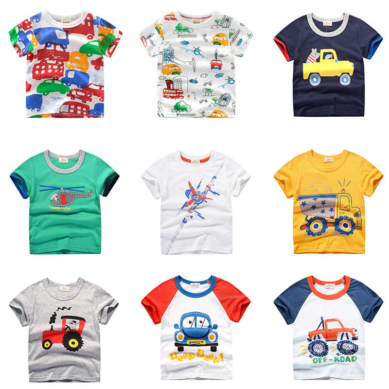 INPEPNOW 2019 Kids Boys T Shirt Cartoon Print Short Sleeve Baby Girls T-shirts Tops White Children T-shirt  for Boys Clothes 278