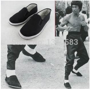 2015ヴィンテージ中国ユニセックスブラック綿製の靴用武術カンフー武術太極拳スリッパブルース·リー男性の靴
