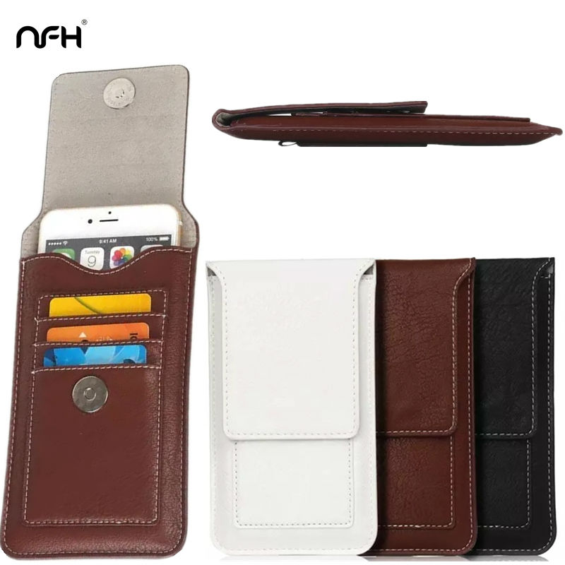 NFH Retro Leather Phone Bags Case For iPhone Case On 6 6S 7 7 Plus Card Holder Phone Pouch For Samsung J5 Redmi Note 3 Waist Bag