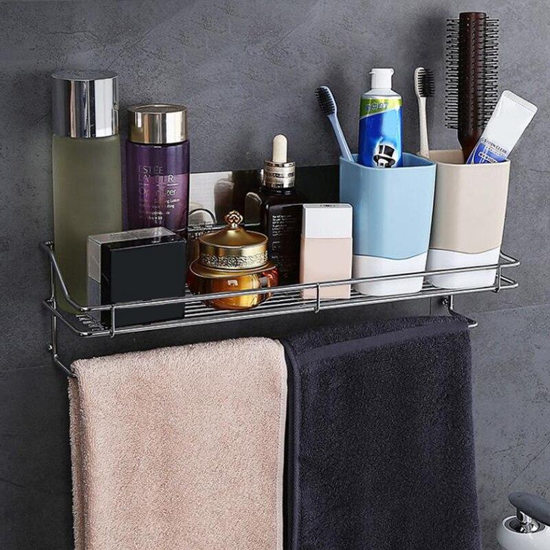Merk Sterke Zuigkracht Rvs Planken Badkamer Plank Douche Plank Shampoo Houder Douche Mand SQ 5001-in Opslagplanken & Rekken van Huis & Tuin op