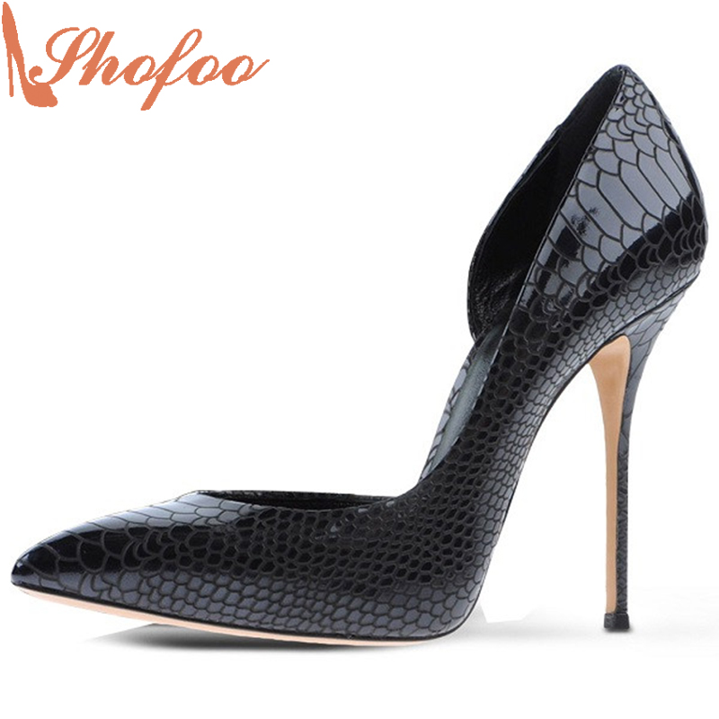 Shofoo Women Pointed Toe High Heel Snake Black Patent Leather Dress Pumps Woman Shoes,Zapatos Mujer Tacon Sapato Plus Size 4-16  shofoo newest women shoes med heels pointed toe pumps for woman dress