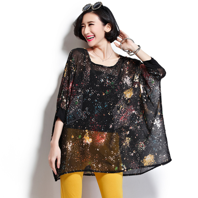 Free shipping–2015 spring and summer plus size plus size clothing 100-150Kg MM suit extra large chiffon shirt