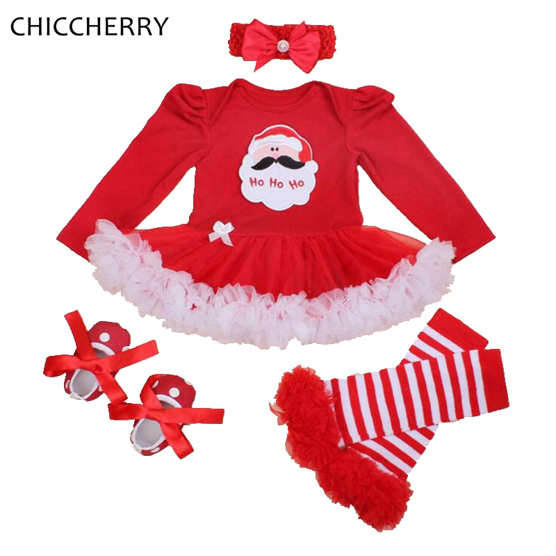 Newborn Baby Girl Long Sleeve Christmas Santa Claus Tutu Romper Dress Outfit Set