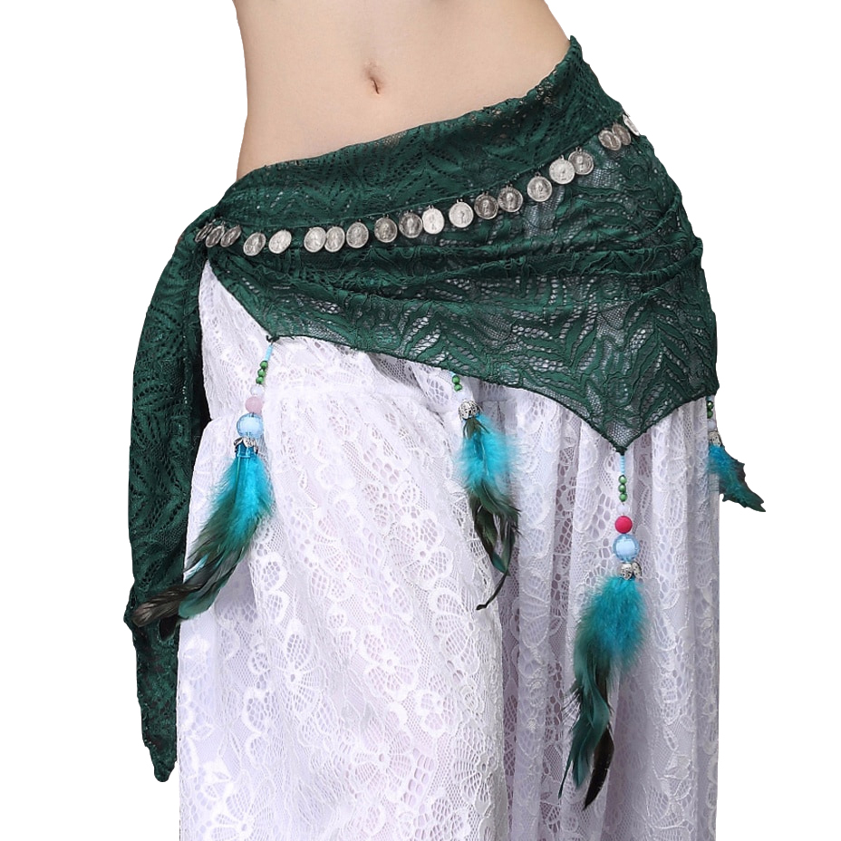 2018 New Women Dancewear Clothes Costume Accessories Feather Fringe Wrap Belts Triangle Hip Belt With Coins Belly Dance Scarf