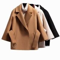 Autumn Winter Women Short Woolen Coat 2018 Belt Jacket Female Raglan Sleeves Cloak Jackets Elegant Single Button Black Camel New