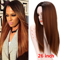 26inch Long Ombre Wigs For Women Synthetic Straight Hair Black Brown wig 2 Tone Long Straight Drag Queen Hair Synthetic Wig