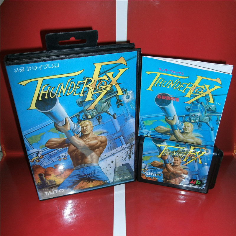 Thunders Fox Japan Cover with box and manual For Sega Megadrive Genesis Video Game Console 16 bit MD card
