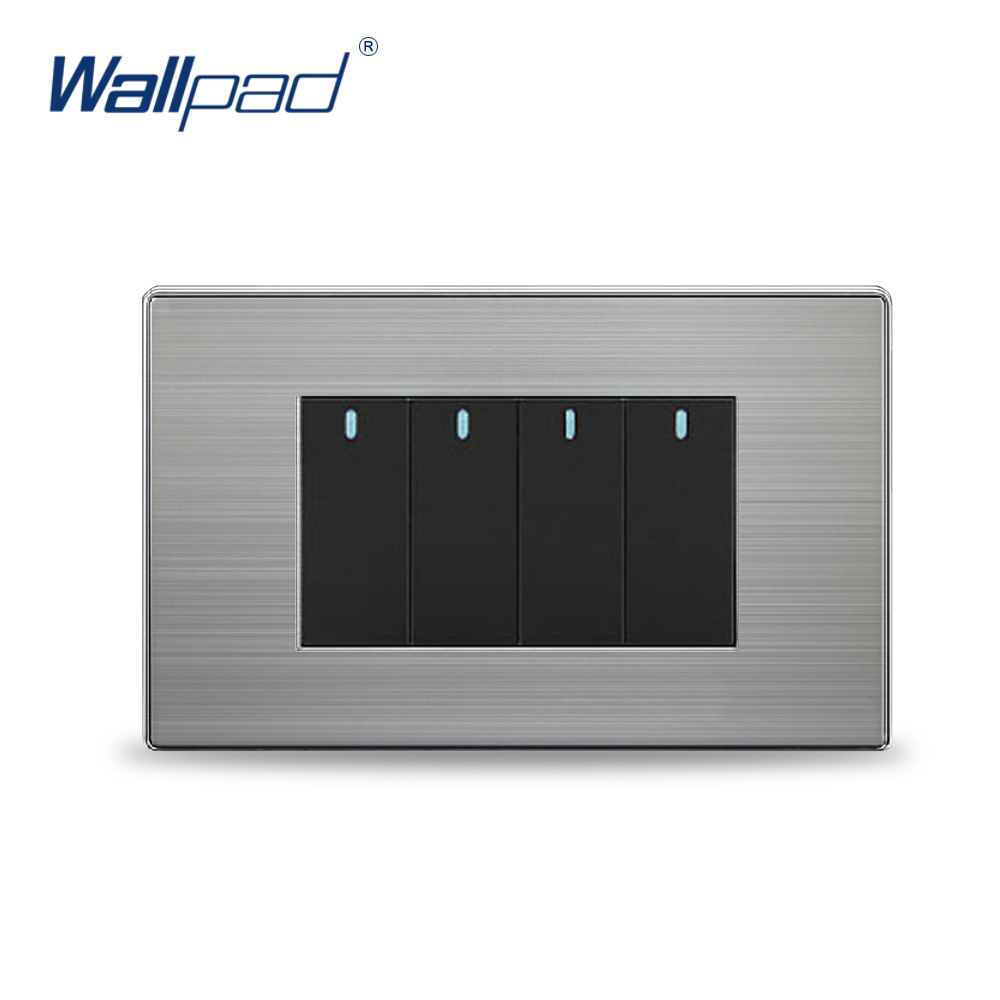 4 Gang 2 way Wall Light Switch Wallpad Luxury Push Button Wall Switches 2 Colors 10A AC110-250V 1 gang 2 way light switch and lamp pull switch ac110 250v wall switch 220v push button switch with led ndicator