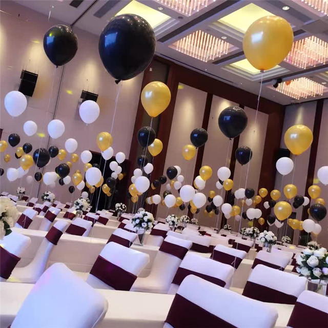 Gold Silver Black White Balloons 10pcs Lot 10 Inch Thick 22g Latex Helium Wedding Decoration Inflatable Birthday Party