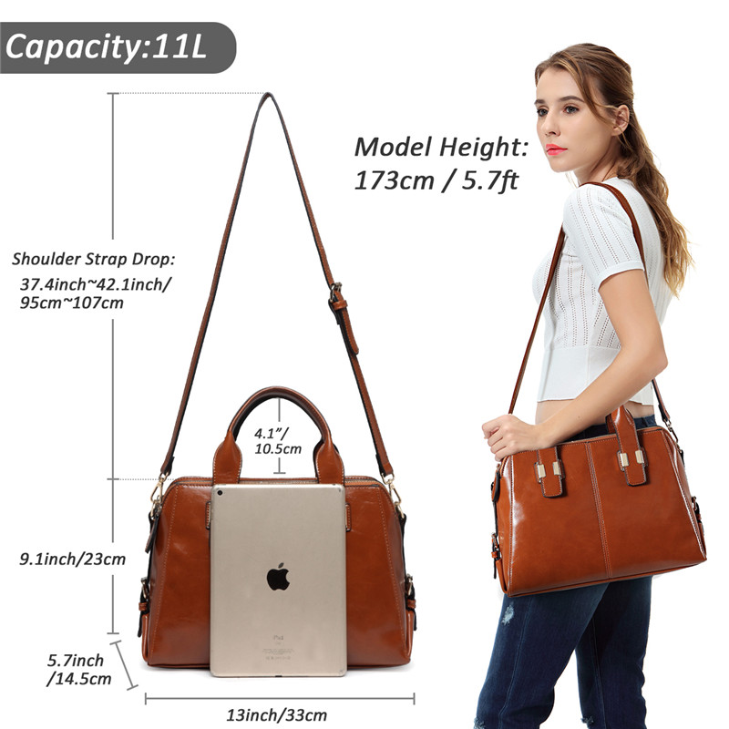 VASCHY Faux Patent Leather Satchel Bag for Women Fashion Top Handle Handbag Work Tote Purse with Triple Compartments Briefcase in Top Handle Bags from Luggage Bags