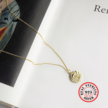 лучшая цена Round Design Pendant Necklace For Women 925 Sterling Silver Vintage Creative Lantern Design Gold Chain Necklace Fashion Jewelry