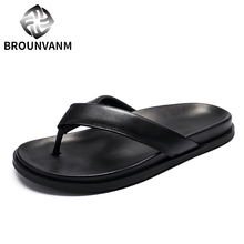 Recommend !! New Men Summer Beach REAL Leather Flip Flop Slippers Casual Sandals Shoes Leisure Man Touring