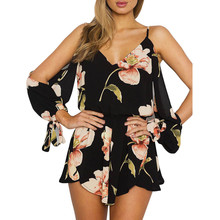 Summer Casual Rompers For Women Boho Floral Printed Jumpsuit Ladies Off Shoulder Long Sleeve Chiffon Playsuit