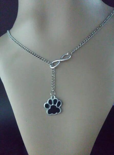 Lucky 8 & Dog paw prints Moda plata de la Vendimia del encanto del suéter del collar y pulsera de cadena apta DIY Accesorios joyería de Las Mujeres