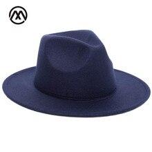 Осенне-зимняя женская фетровая шляпа с большими полями для женщин, винтажные церковные шляпы в британском стиле, женские фетровые шляпы с плоскими полями