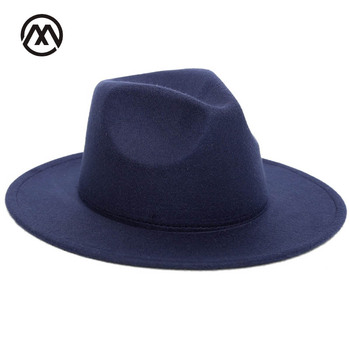 Фетровая шляпа для женщин, винтажные фетровые шапки с большими полями в английском стиле, женские фетровые шапки с плоскими полями, Осень-зима 2018