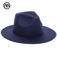 1a5ab675d6c67 2018 Autumn Winter Womens Felt Hat Fedoras Big Brim Hats For Women British  Style Vintage Church