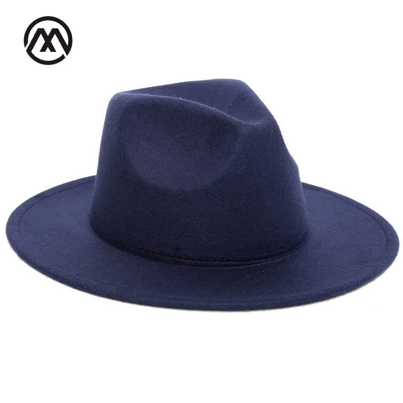 2018 Autumn Winter Womens Felt Hat Fedoras Big Brim Hats For Women British Style Vintage Church Hats Lady Flat Brim Fedoras