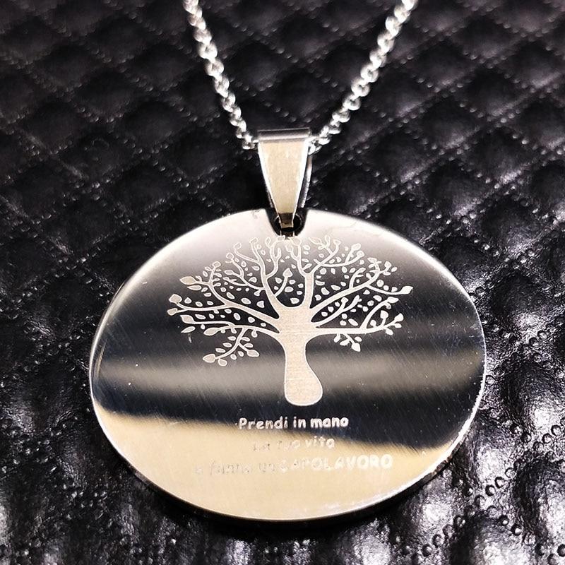 Náhrdelník s přívěskem ze stromu z nerezové oceli, náhrdelník z nerezové oceli, šperky, šperky, náhrdelníky N7634B