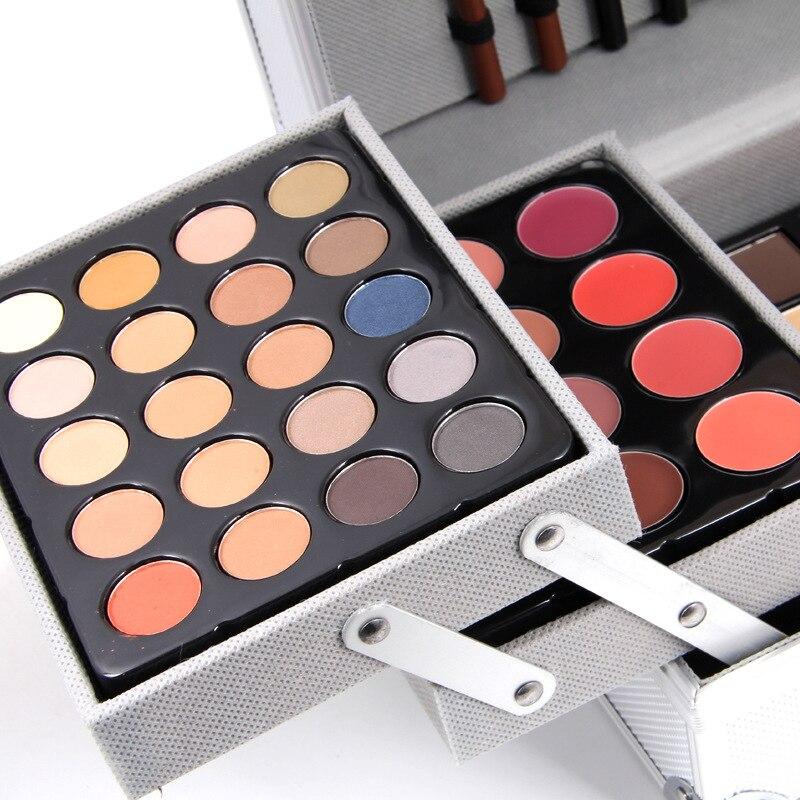 Makup Tool Kit scatola di Alluminio Tra Cui Luccichio Matte Eyeshadow Rossetto Correttore Blush, fard Spazzola di Trucco del Corredo Cosmetico Maquiagem - 3