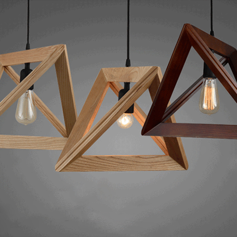 Pendant Light Creative Decoration Triangle Pendant Wooden Lights Lighting Suspension Adjustable Pendant Light Home Dropshipping