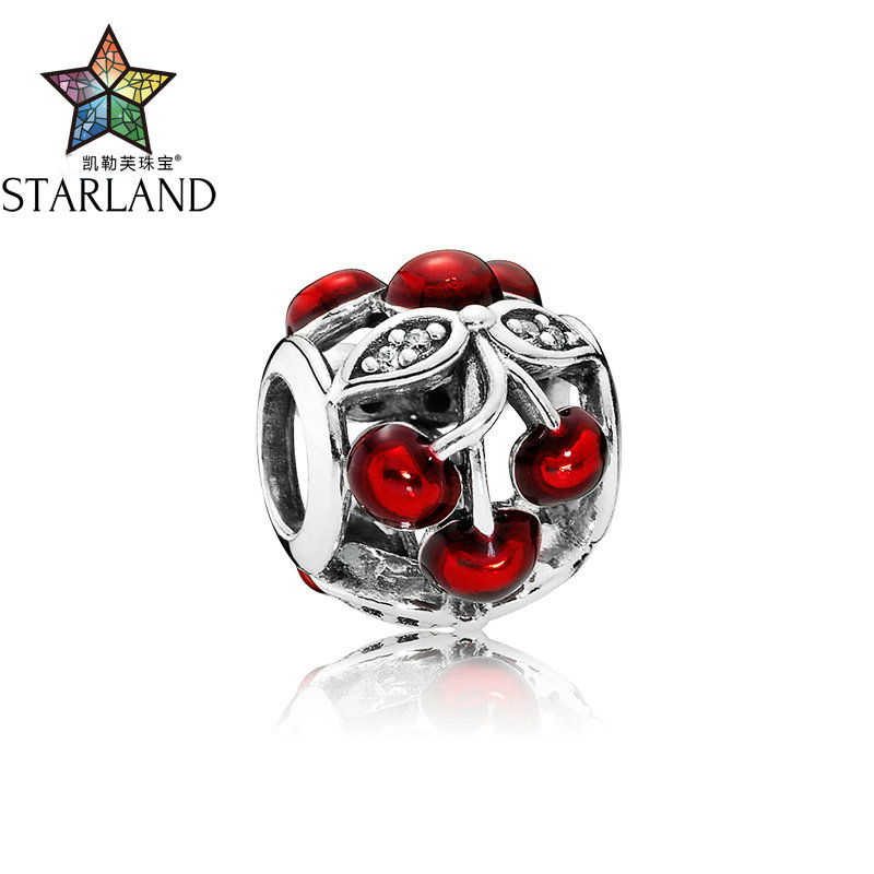 Starland Fashion 925 Sterling Silver Charm Sweet Cherries Glossy Red Enamel CZ Beads Fit Original Charms Bracelet Women Jewelry