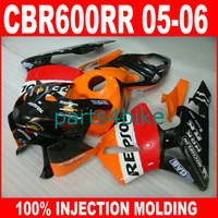 ABS plastic 100% Injection Molding fairings parts for HONDA 2005 2006 CBR 600RR 05 06 CBR600RR orange repsol fairing kits