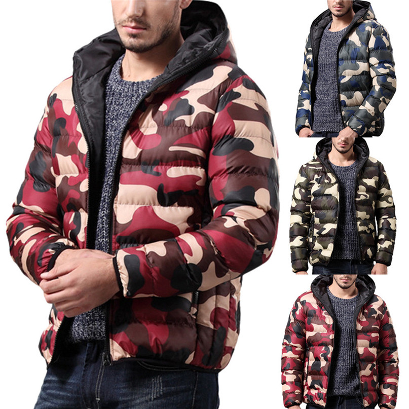 Hiking Clothings Mens Winter Jacket Down Jacket Man Overcoat Outwear Camouflage Slim Trench Zipper Caps Coat Down Filled Garment #2o15#ffnfnfn