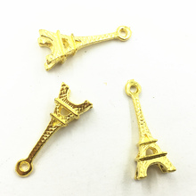 10Pcs Glod Plated Pendants For Necklaces Bracelets France Eiffel Tower Solid Metal Craft Charms Jewelry DIY Accessories 22mm