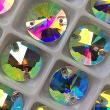YANRUO Топ 3200 Rivoli Кристл AB Стекло Пришить Стразы Швейные Кристаллы Камни для Одежды Ремесел и Искусств