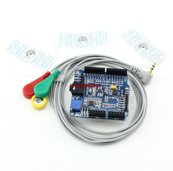 Free Shipping Duinopeak ECG/EKG/EMG Shield for Arduino with Cables and Electrodes