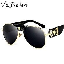 VeBrellen New Fashion Women Sunglasses Metal Leather Decoration Frame Luxury Brand Designer Women Mirror Sun glasses Men VJ181