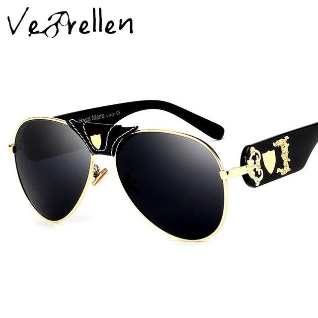 Vebrellen new модные женские солнцезащитные очки металл кожа рамка украшения luxury brand дизайнер женщины зеркало солнцезащитные очки мужчины vj181