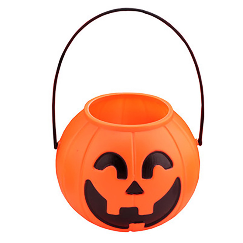 2 Pcs Smile Pumpkin Bucket Pot Candy Holder Halloween Party Decorations Supplies