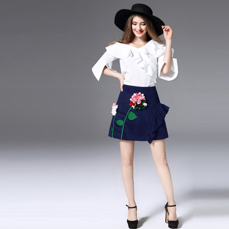 Fashion 2 Piece Set Women Suits Summer White Ruffle Short Sleeve Blouse + Pencil Flower Skirts 2pcs Sim Sexy Skirt Sets