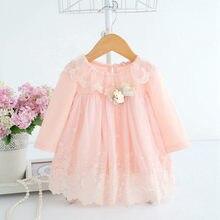 Dziewczynka sukienka 0-2Y noworodka słodkie dziecko haft bawełna sukienka niemowlę dziecko sukienka urodzinowa ubranka dla dzieci z miś zabawka 2 kolor