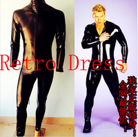 Free Shipping Male Sexy Ds Lead Dancer Clothing Costume One Piece Zipper Type Elastic Japanned Leather