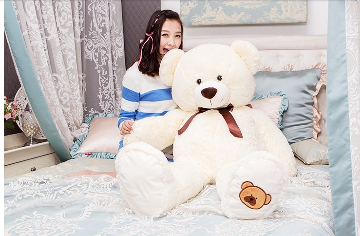 huge lovely bear toy plush toy cute bow stuffed teddy bear birthday gift about 140cm beige new creative plush bear toy cute lying bow teddy bear doll gift about 50cm