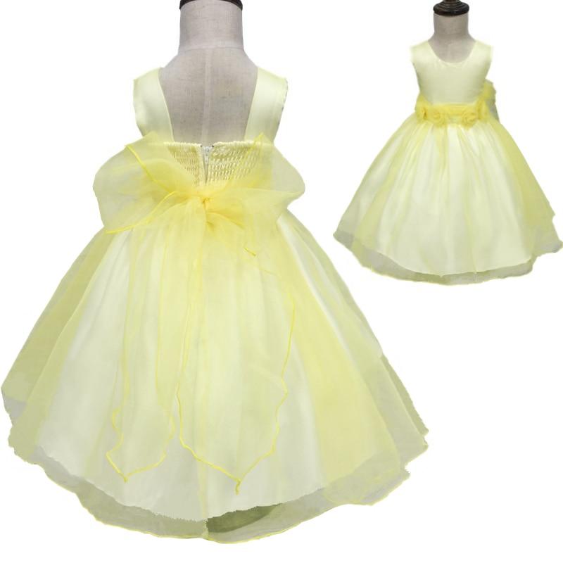 Factory Free Shipping 2018 Girl Dress Organza Yellow Flower Girl