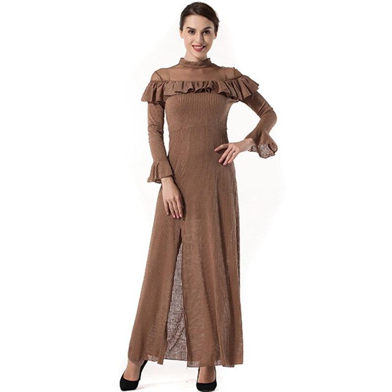 Высокое качество платья женские 2018 Весна Новые оборки темперамент с длинными рукавами тонкий разрез платье одежда Vesditos SS1