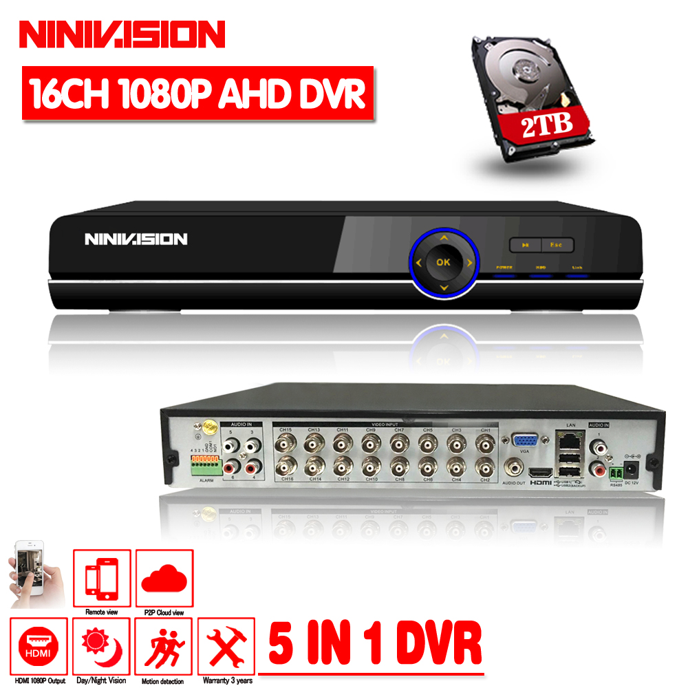 NINIVISION 16CH 1080P HDMI H.264 Standard HD AHD Video Recorder Audio RS485 PTZ CCTV DVR 16 Channel For Analog AHD IP Camera