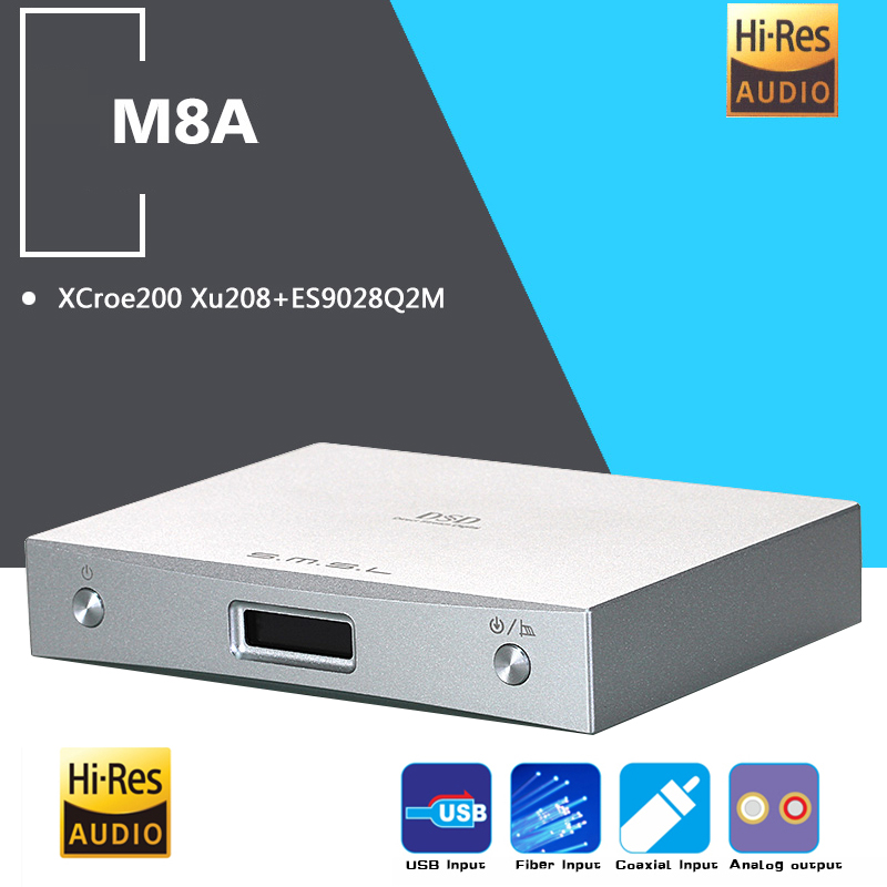 NEW SMSL M8A DAC DSD512/768kHz MINI HIFI Audio Decoder Amplifier USB Receive XCroe200 Xu208+ES9028Q2M Coaxial/XMOS Asynchronous