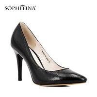 Oferta SOPHITINA negro hecho a mano de cuero de las señoras bombas de piel de oveja de super alta delgada tacones Zapatos elegantes punta mujer Oficina bombas de D45
