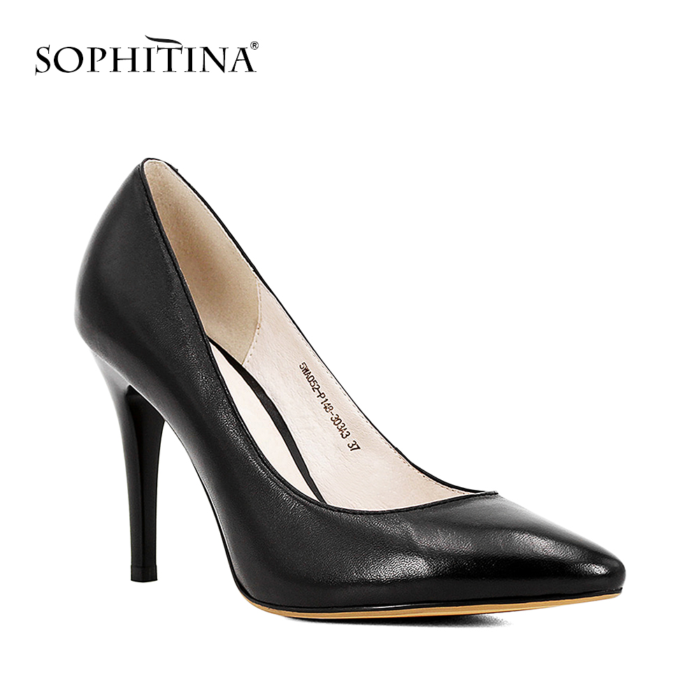 SOPHITINA 2018 Hecho a mano de cuero negro Lady Pumps Sheepskin Super High Thin Heels Shoes Elegante punta estrecha Office Lady Shoes D45