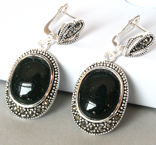Fashion 925 Silver Natural Green Sand Stone Marcasite Earrings 11/2""